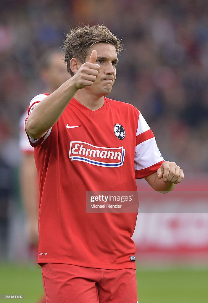 Oliver Sorg of Freiburg reacts during the Bundesliga match between SC Freiburg and Borussia Moenchengladbach at Mage Solar Stadium on August 31, 2014 in Freiburg, Germany.