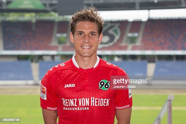 Oliver Sorg poses during a team presentation for Hannover 96 at HDIArena on July 13 2015 in Hanover Germany