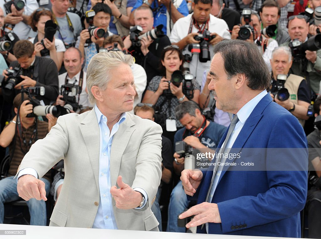 Oliver Stone and Michael Douglas at the photocall for 'Wall street : Money never sleeps' during the 63rd Cannes International Film Festival.