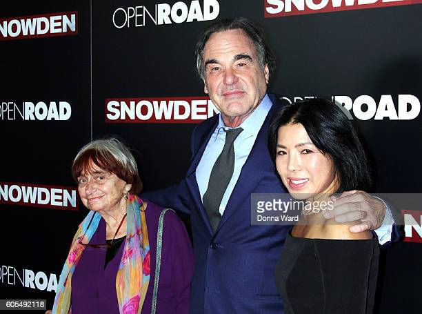 Oliver Stone and Sunjung Jung attend the 'Snowden' NYC Premiere at AMC Loews Lincoln Square on September 13 2016 in New York City