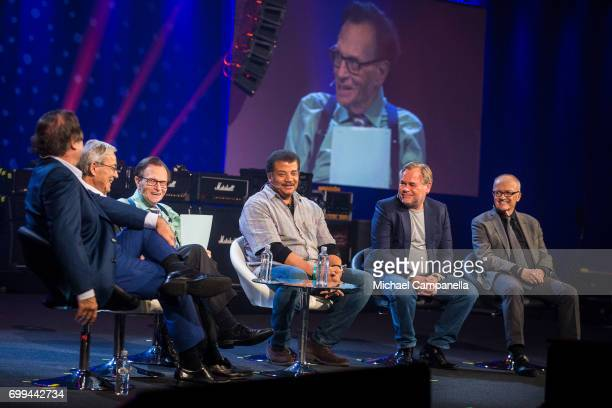 Oliver Stone Chris Pissarides Larry King Neil deGrasse Tyson Eugene Kaspersky and Finn Kydland participate in a roundtable discussion during the...