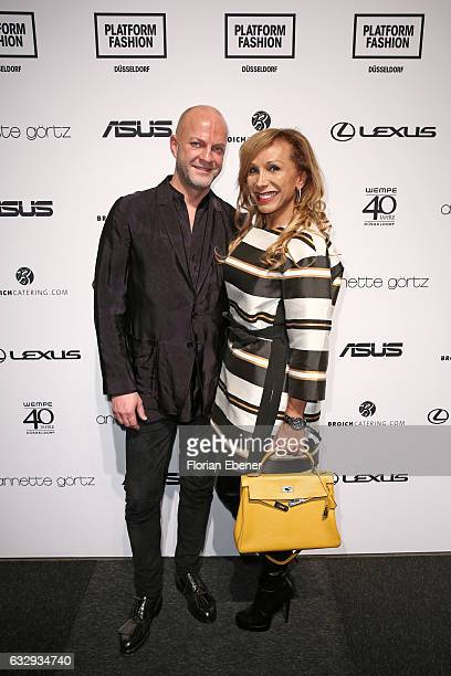 Oliver Strathoff and Julia Prillwitz attend the Annette Goertz show during Platform Fashion January 2017 at Areal Boehler on January 28 2017 in...