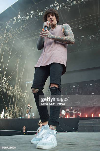 Oliver Sykes from Bring Me the Horizon performs at Rock en Seine on August 27 2016 in Paris France