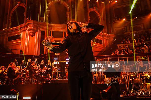 Oliver Sykes from Bring Me the Horizon performs at the Royal Albert Hall on April 22 2016 in London England