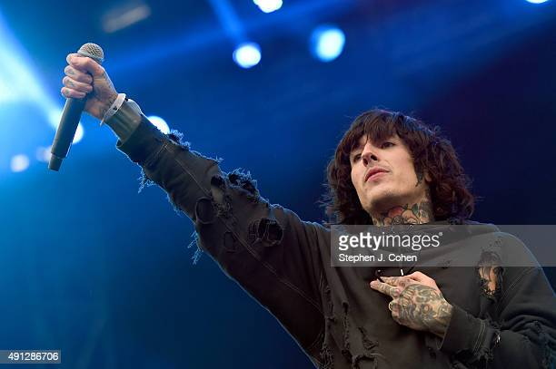 Oliver Sykes of Bring Me The Horizon performs during the Louder Than Life Music Festival at Champions Park on October 3 2015 in Louisville Kentucky