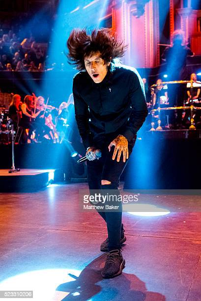 Oliver Sykes of Bring Me The Horizon performs on stage at the Royal Albert Hall on April 22 2016 in London England