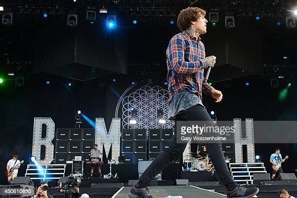 Oliver Sykes of Bring Me The Horizon performs on stage during day 2 of Download Festival at Donnington Park on June 14 2014 in Donnington United...