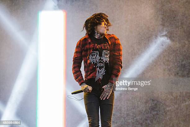 Oliver Sykes of Bring Me The Horizon performs on the main stage during day 3 of Leeds Festival at Bramham Park on August 30 2015 in Leeds England