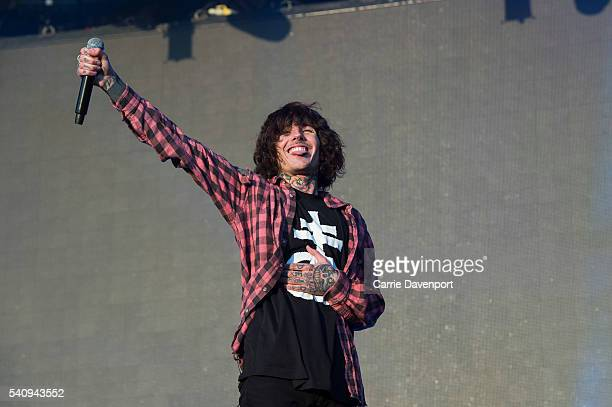 Oliver Sykes of Bring Me The Horizon performs onstage at Belsonic 2016 at Titanic Slipways on June 17 2016 in Belfast Northern Ireland