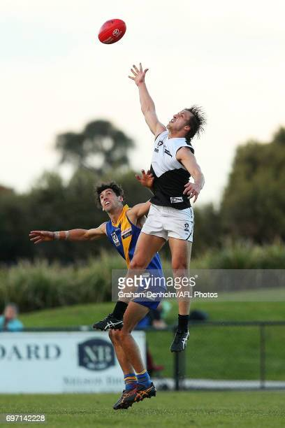 Oliver Tate of North Ballarat jumps for the ball during the round nine VFL match between Williamstown and North Ballarat at Burbank Oval on June 18...