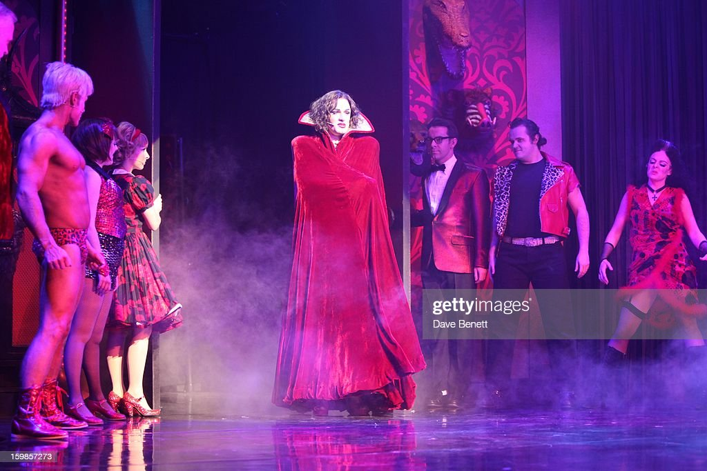 Oliver Thornton and cast perform on stage during a production of Richard O'Brien's Rocky Horror Show at the New Wimbledon Theatre on January 21st, 2013 in London, United Kingdom.