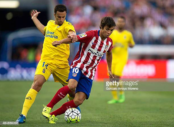 Oliver Torres of Atletico de Madrid competes for the ball with Hernan Santana of UD Las Palmas during the La Liga match between Club Atletico de...