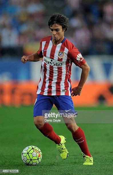 Oliver Torres of Club Atletico de Madrid in action during the La Liga match between Atletico de Madrid and Getafe at Vicente Calderon Stadium on...