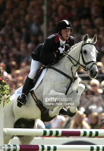 Oliver Townend riding Flint Curtis on his way to overall victory during the show jumping competition on the final day at the Badminton Horse Trials...