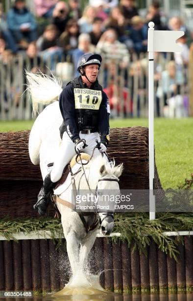 Oliver Townsend riding Flint Curtis jumps through the lake during the cross country competition at the Badminton Horse Trials 2009