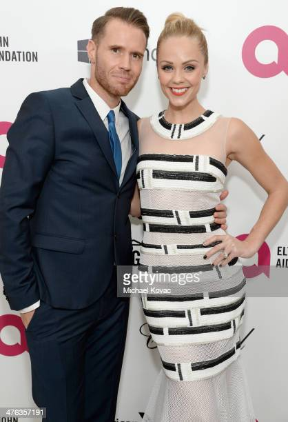 Oliver Trevena actress Laura Vandervoort attend the 22nd Annual Elton John AIDS Foundation Academy Awards Viewing Party at The City of West Hollywood...