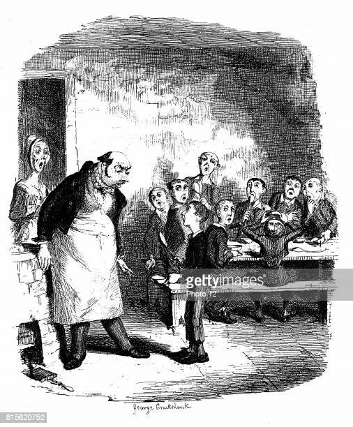Oliver Twist causing a sensation in the children's ward of the workhouse by asking for a second helping of porridge In the background starving...