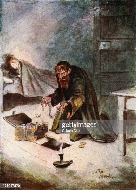 Oliver Twist illustration of a scene from the book by English novelist Charles Dickens with Oliver and Fagin Caption reads 'The Jew stepped gently to...