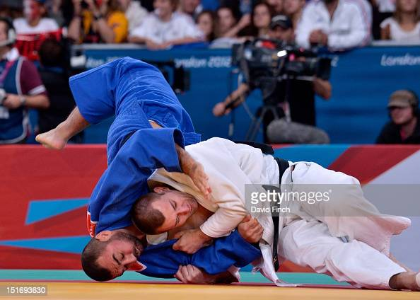 Oliver Upmann of Germany defeated Karim Sardarov of Azerbaijan by ippon with this shoulder throw during the Day 3 u100kgs eliminations at the...