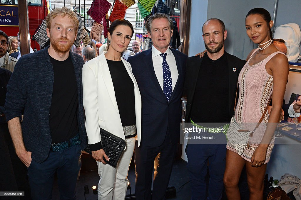Oliver Wayman, Livia Firth, Iain Renwick, Cameron Saul and Lais Ribeiro attend the Bottletop Regent Street store launch on May 24, 2016 in London, England.