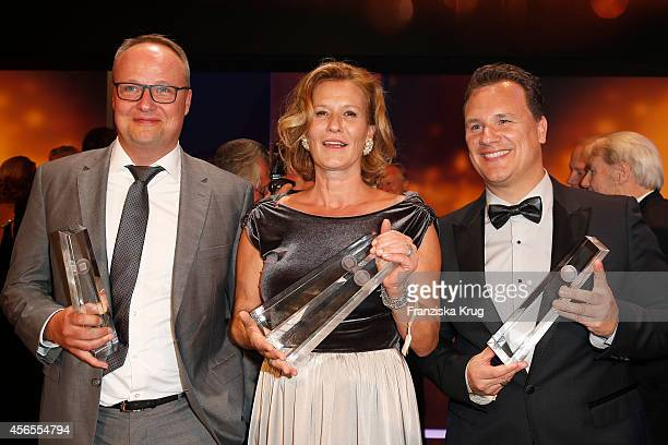 Oliver Welke Suzanne von Borsody and Guido Maria Kretschmer attend the Deutscher Fernsehpreis 2014 after show party on October 02 2014 in Cologne...