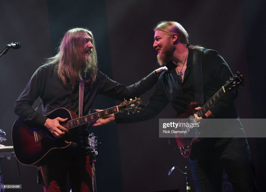 Oliver Wood (The Wood Brothers) joined on stage by Derek Trucks during the Wheels Of Soul 2017 Tour Featuring Tedeschi Trucks Band With The Wood Brothers and Hot Tuna at The Fox Theatre on July 15, 2017 in Atlanta, Georgia.