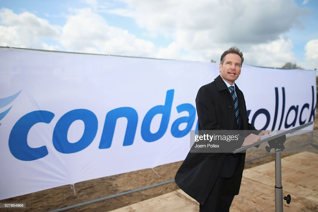 Oliver Zimmermann, CEO Condair, speaks to the attendant crowd during the foundation stone laying ceremony for the new Condair EMEA Logistic and Production Plant on May 3, 2016 in Norderstedt, Germany.