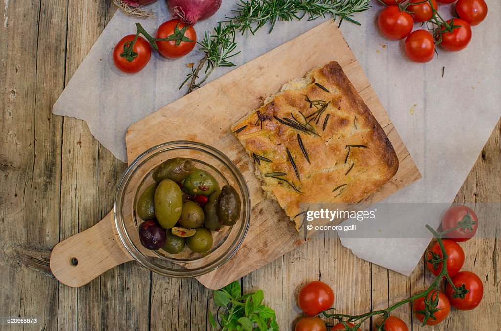 Olives and focaccia