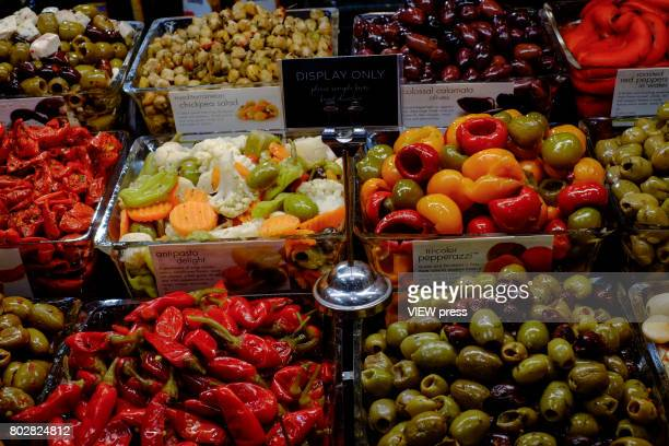 Olives are displayed at the Annual Summer Fancy Food Show on June 262017 at the Javits Center in New York City