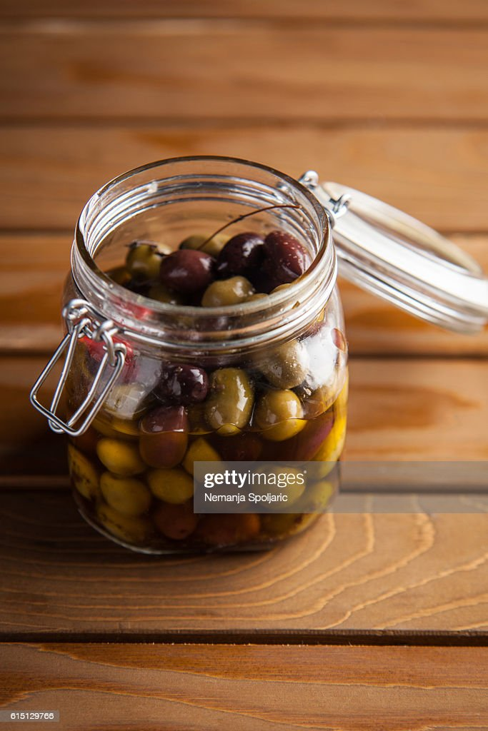 olives in a jar : Stock Photo