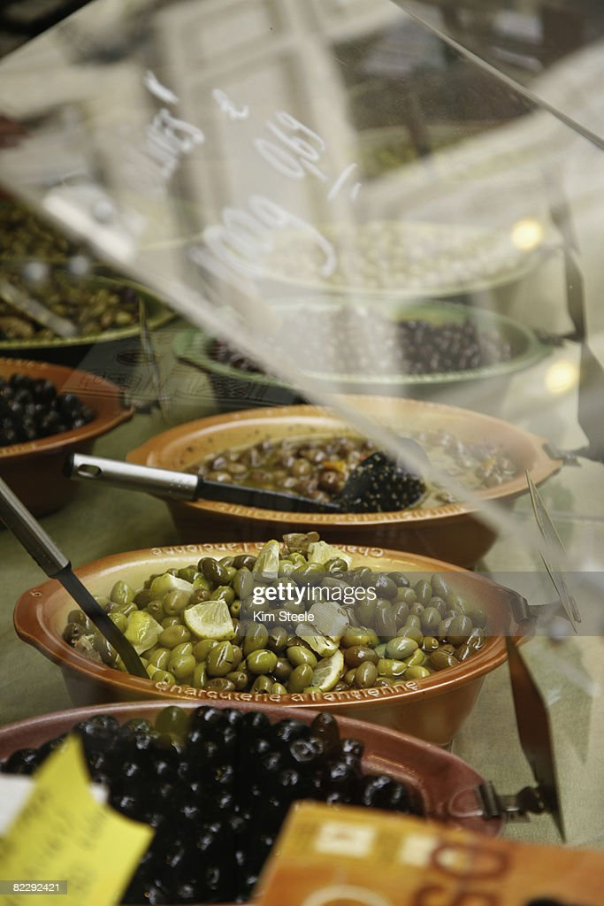Olives in market;   Hyeres, Provence, France : Stock Photo