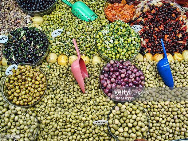 Olives in market in Tangier, Morocco