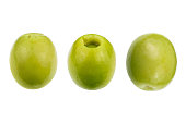 green olives set isolated. Clipping Path