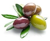 Olives with leaves on a white background.