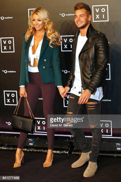 Olivia Attwood and Chris Hughes attend the VOXI launch party at Brick Lane Yard on August 31 2017 in London England