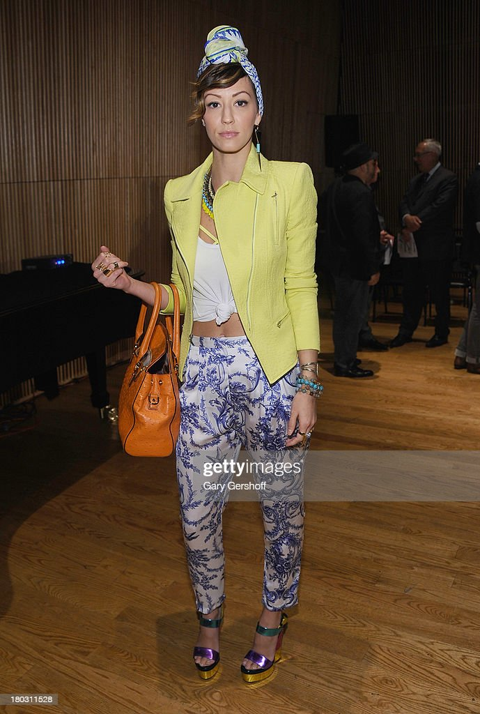 Olivia Barr attends the Douglas Hannant show during Spring 2014 Mercedes-Benz Fashion Week at DiMenna Center on September 11, 2013 in New York City.