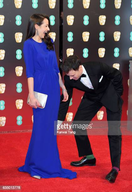 Olivia Bennet and Rupert Evans attend the 70th EE British Academy Film Awards at the Royal Albert Hall on February 12 2017 in London England