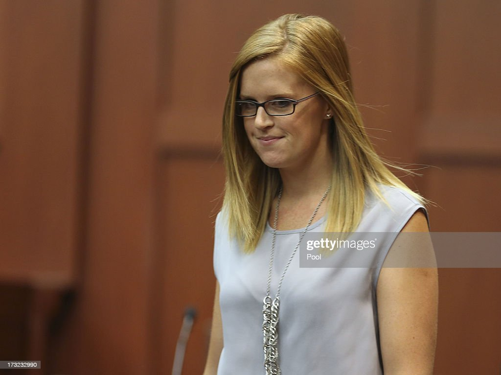 Olivia Bertalan leaves the stand after testifying for the defense during George Zimmerman's murder trial in Semimole circuit court July 10, 2013 in Sanford, Florida. Zimmerman has been charged with second-degree murder for the 2012 shooting death of Trayvon Martin.