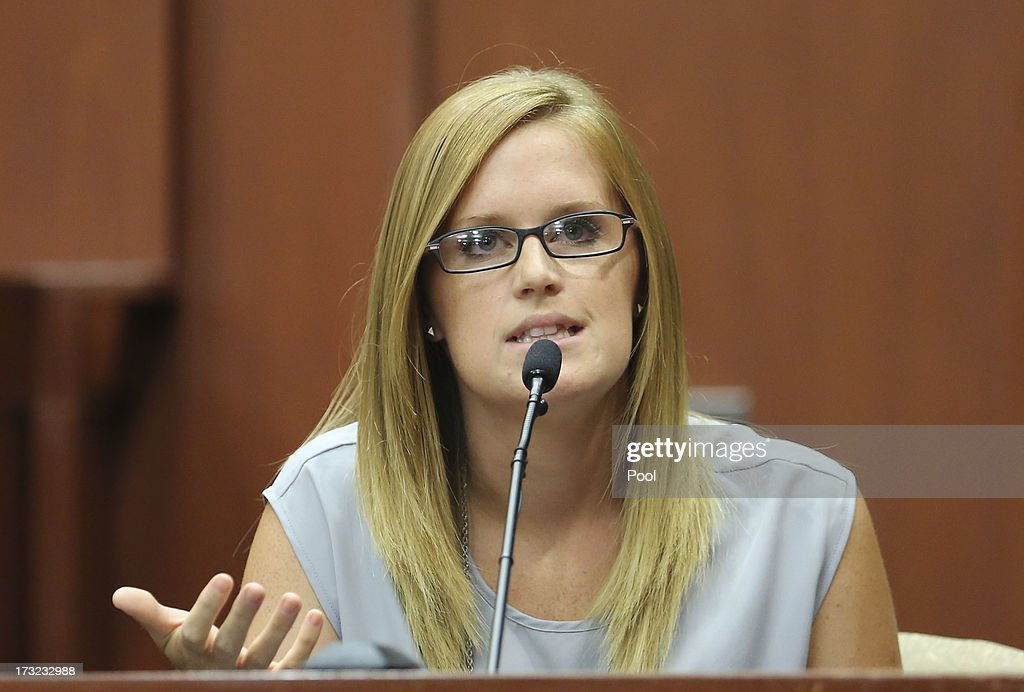 Olivia Bertalan testifies for the defense during George Zimmerman's murder trial in Semimole circuit court July 10, 2013 in Sanford, Florida. Zimmerman has been charged with second-degree murder for the 2012 shooting death of Trayvon Martin.