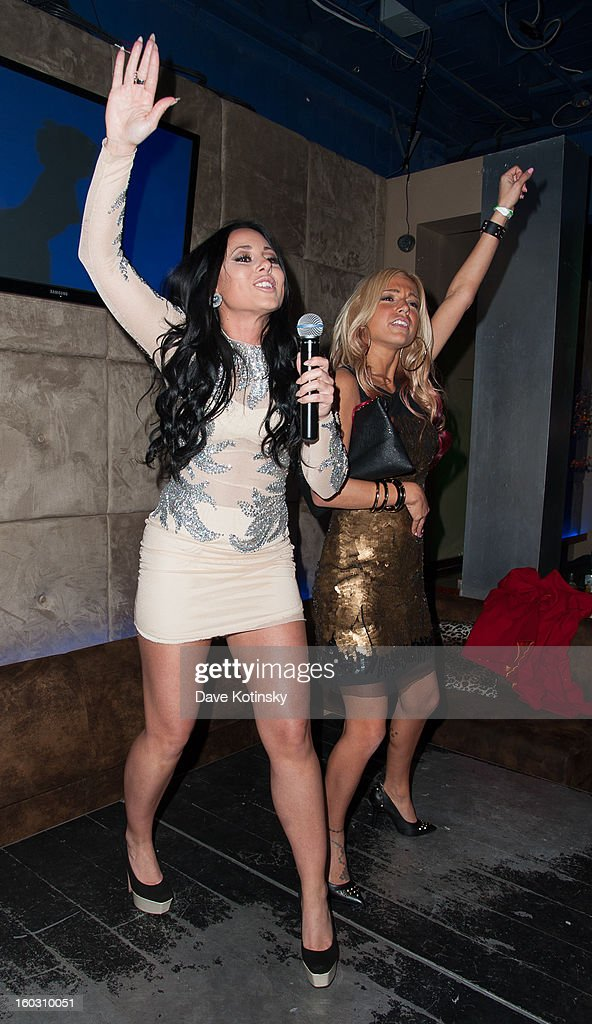 Olivia Blois Sharpe and Jackie N Carmelo Bianchi performs at the 'Jerseylicious' Season 5 Premiere Celebration at 46 Lounge on January 28, 2013 in Totowa City.
