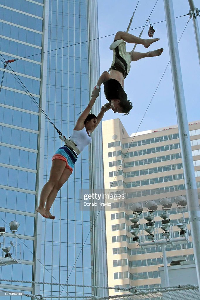 Olivia Blois Sharpe performs on trapeze at Trump Taj Mahal on July 6, 2012 in Atlantic City, New Jersey.