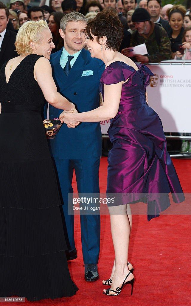 Olivia Colman, Amanda Abbington and Martin Freeman attend the BAFTA TV Awards 2013 at The Royal Festival Hall on May 12, 2013 in London, England.