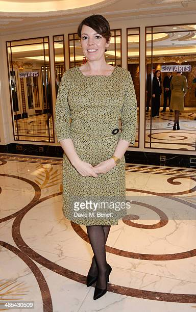 Olivia Colman attends a drinks reception at the South Bank Sky Arts awards at the Dorchester Hotel on January 27 2014 in London England