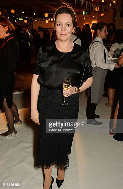 Olivia Colman attends the Bright Young Things Gala 2016 a Young Patrons of the National Theatre event in support of emerging talent at The National...
