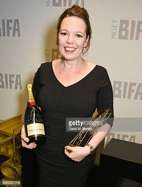 Olivia Colman winner of the Best Supporting Actress award for 'The Lobster' poses at the Moet British Independent Film Awards 2015 at Old...