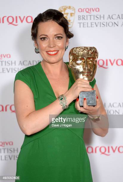 Olivia Colman with her award for Leading Actress attends the Arqiva British Academy Television Awards at Theatre Royal on May 18 2014 in London...