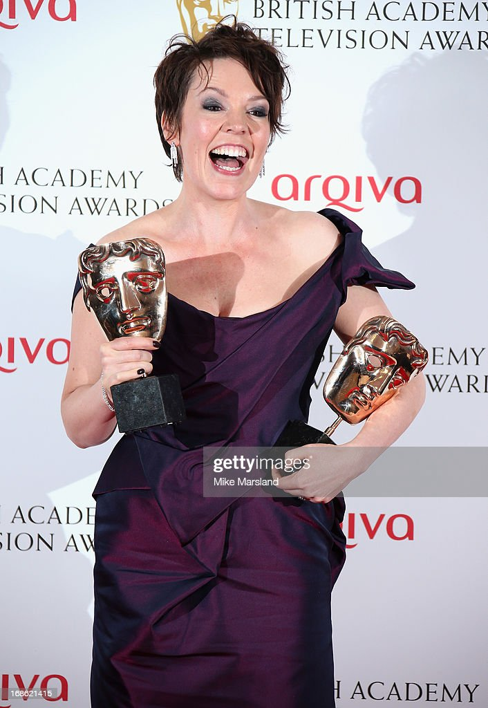 Olivia Colman with her Best Female in a Comedy and Best Supporting Actress awards during the Arqiva British Academy Television Awards 2013 at the Royal Festival Hall on May 12, 2013 in London, England.