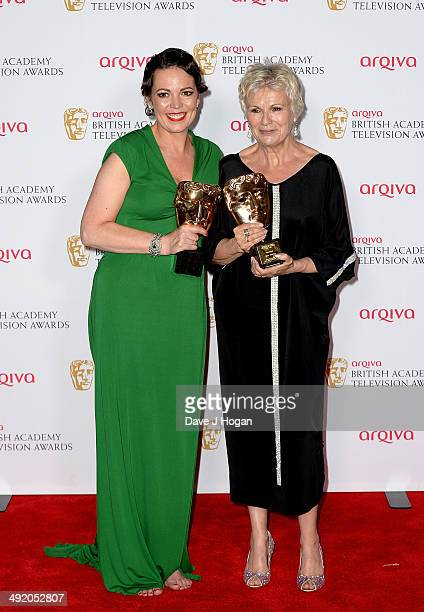 Olivia Colman with her Leading Actress Award and Julie Walters with her Fellowship Award at the Arqiva British Academy Television Awards at Theatre...