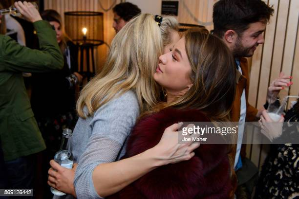 Olivia Cox and Mimi Bouchard attend the launch party of Air Canada Poutinerie popup to showcase #CoolNotCold destinations on November 1 2017 in...