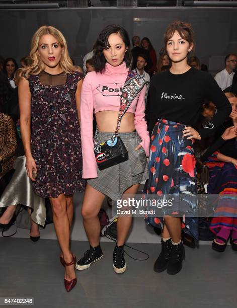 Olivia Cox Betty Bachz and Ella Hunt attend the Eudon Choi show during London Fashion Week September 2017 at BFC Show Space on September 15 2017 in...